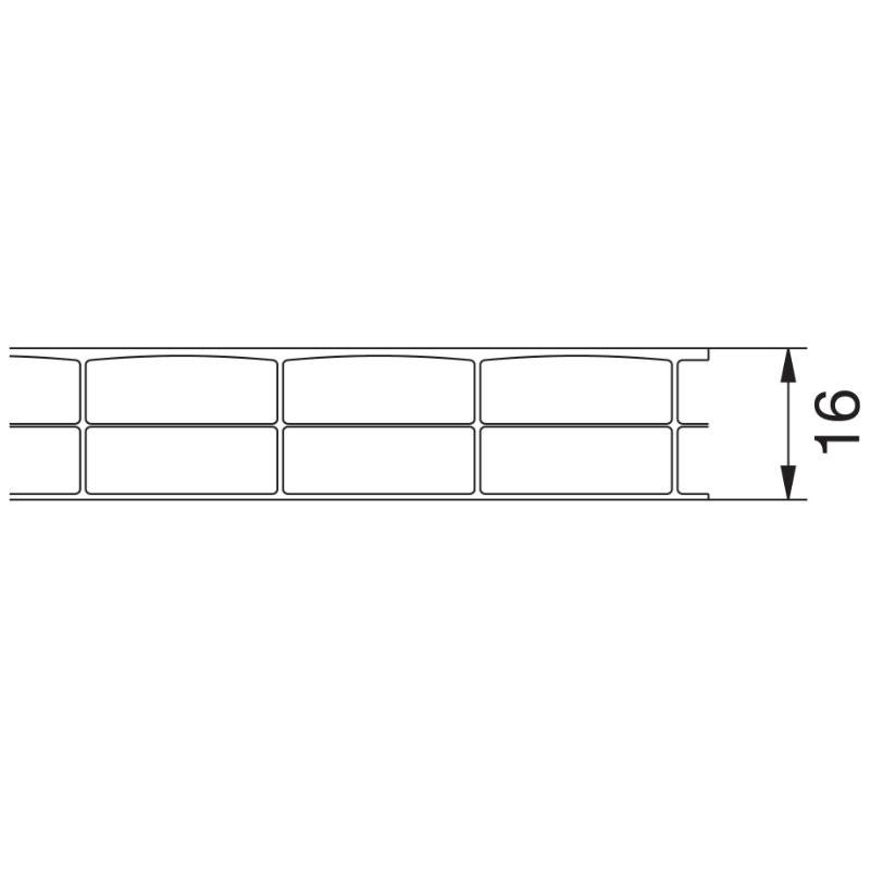 Material Acrylglas Breite 1200 mm Doppelstegplatte Stegplatte St/ärke 16 mm Hohlkammerplatte Farbe Glasklar